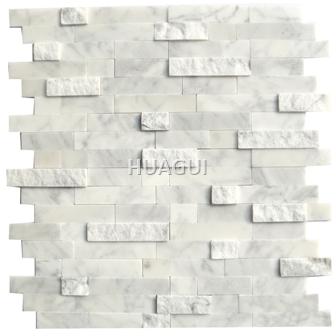 3D effect Marble mosaic tile Carrara White Rectangle Shape for Wall Panel Kitchen Backsplash