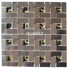 3D Rectangle Stainless Steel Mosaic Tile Metal Peel & Stick Mosaic Tile in Metallic Silver