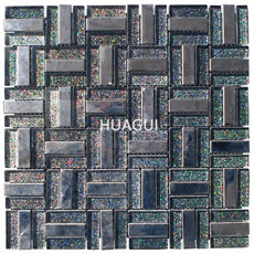Rectangle Sized Mixed Stainless Steel Material Mosaic Tile in Dark Color