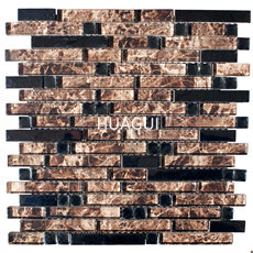Brown and Clear Backsplash Tiles, Glossy Coated Glass Tile for Kitchen, Crystal Mosaic Accent Tile Wall in Bathroom