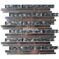 Metal/Glass Mosaic Tile Stainless Steel Metal Mosaic Tile in Gray/Silver  Home Decoration