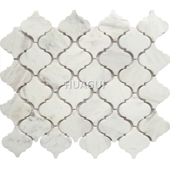 Carrara White Italian  Marble Lantern Mosaic Tile Polished Marble Mosaic Tile
