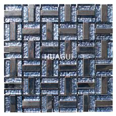 Rectangle Glass Mixed Stainless Steel Material Mosaic Tile Kitchen Backspalsh Wall Tile