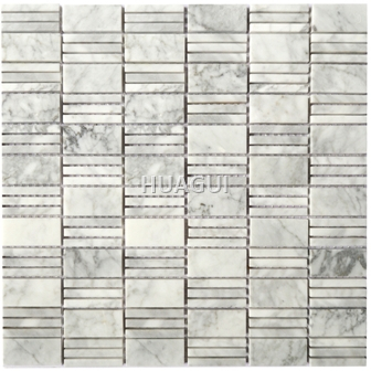 Rectangle Shape Marble Mosaic tile with texture of bottom for wall  bathroom floor tile