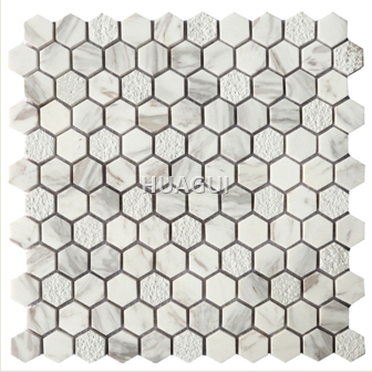 Hexagon marble stone mosaic tile Polished Kitchen Backsplash Bathroom Shower Floor Tile