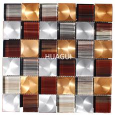 Home Building Glass Tile Kitchen Backsplash Idea Bath Shower Wall Decor Gold Gray Interlocking Pattern Art Mosaics