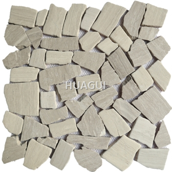 Irregular Shape Random Sized Marble Mosaic Tile in Brown Stone Mosaic Tile