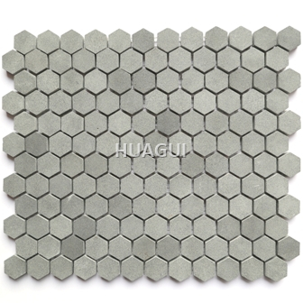 Random Sized Marble Mosaic Tile in Grey Marble Hexagon Wall Decoration Material