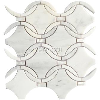 Waterjet  Carrara White Marble Mosaic Tile Weaving Pattern On Mosaic Sheet