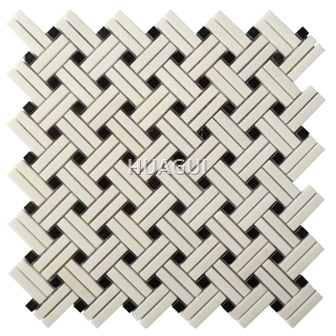 Basketweave with Black Dot Marble Mosaic Tile in Grey for Kitchen Backsplashes Accent Walls