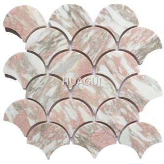 Finsh Scale Marble Mosaic Tile Fan Pattern Mini Mosaic Tile Polished Mosaic Tile