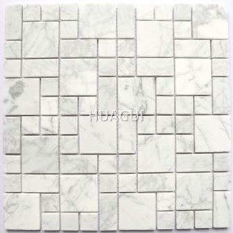 White Square and Rectangle Wall Tiles 3DWall Floor Tiles Marble Look Kitchen Backsplash Mosaic