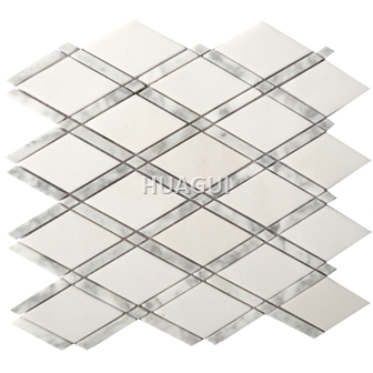Random Sized Marble Mosaic Tile in White/Gray Mesh-Mounted