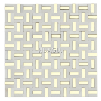 Stainless Steel Mosaic Chips mixed Marble Mosaic Tile Luxurious Home Decoraion