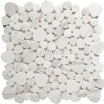 Carrara White Peddale Shape Marble Mosaic Tile for Wall Backspalsh Kitchen