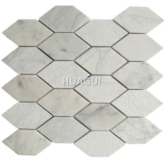 Random Sized Marble Mosaic Tile in Grey Carrara Marble Hexagon Mosaic Tile Honed