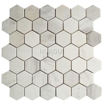 Carrara Hexagon Marble Mosaic Tile Mixed Beige Mosaic tile in Grey Texture of Surface