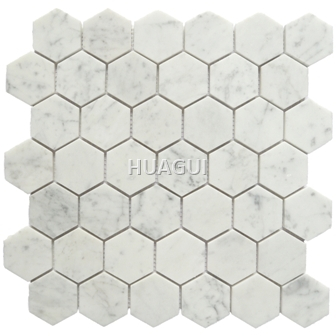 Linear Polished Random Sized Marble Mosaic Tile in White Home Decoration