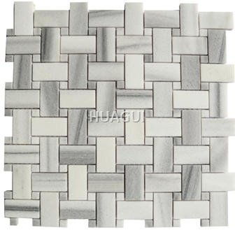 Basket Weaving Design Carrara Rectangle Shape Marble Mosaic Tile in White/Grey Wall Panel