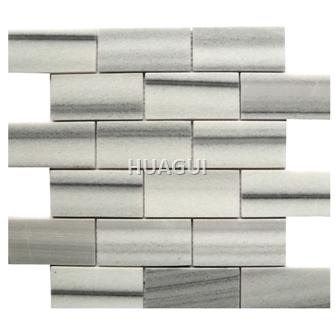 3D Rectangle Shape Random Sized Marble Mosaic Tile in White/Grey Statuary