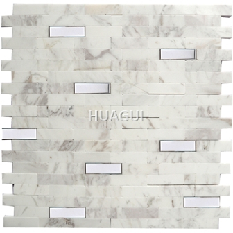 Rectangle Mosaic Mixed Stainless Steel Mosaic tile Random Sized Marble Mosaic Tile in White