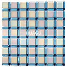 Decorative wall mirror swimming pool tiles glass mosaic with blue