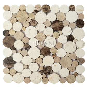 Random Sized Peddel Marble Mosaic Tile in White/Grey/Brown flooring tile