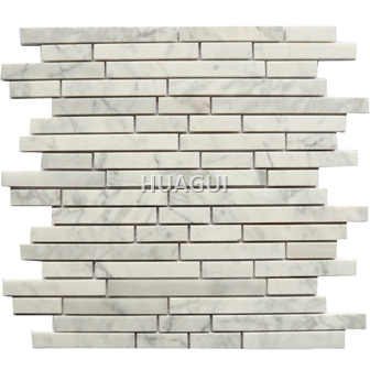 Carrara White Marble Mosaic Tile Strip Shape for Firepalce Kitchen Wall Decoration