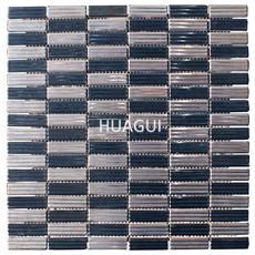 Mosaic Tiles Interlocking Surface Texture Chrome Silver Black Ink Blue Mosaic Bath Kitchen Fireplace Decor