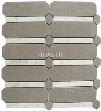 Edge Beveled Hexagon Grey/White/Brwon Marble Mosaic Tile for Wall Decoration Bathroom Kitchen Backsplash