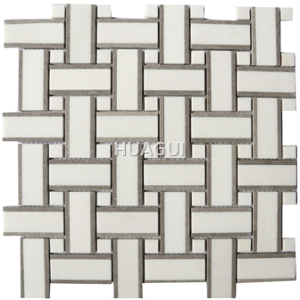 Linear Random Size Marble Mosaic Tile in White/Dark Grey Basket Weaving Design