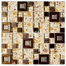 Flower Pattern Random Sized Metal Mixed Glass Mosaic Tile in Yellow Home Decoration