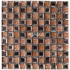 Hot Sale Brown Color Mirror Crystal Glass Mosaic Tile For Wall Decoration