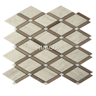 Random Sized Marble Mosaic Tile in Antique Brown