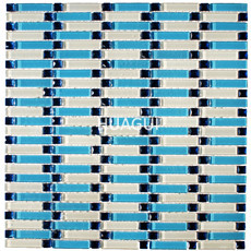 Mirror mosaic blue textured glass mosaic tiles gradually varied mosaic