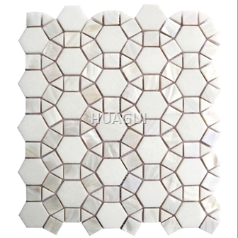 Random Size Honed Square Patterned Marble Mosaic Tile mixed Color for Wall backsplash