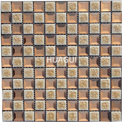 Decorative Wall Two-color Brown and White Glass Mixed Ceramic  Glass Mosaic 3D Mirror Pattern Tiles