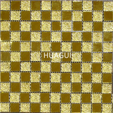 Luxury glass mosaic wall decoration golden self sticking metal mosaic golden mirror color glazed mosaic tile in China