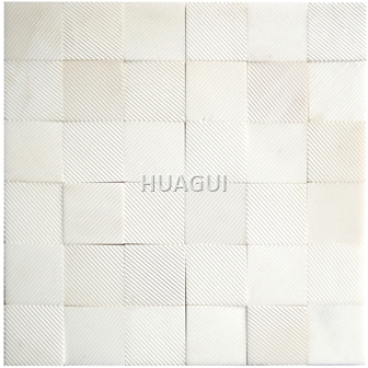 Ice White Marble Mosaic Tile in Oriental White Texture of Surface Shape