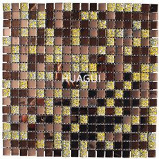 Popular Dignity high Mirror Tiles Brown Mix Gold Glass Mosaic
