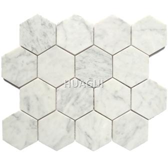 Carrara Hexagon Random Sized Marble Mosaic Tile in White Home Decoration Material