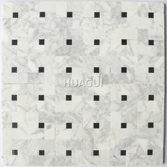 Stone Center Online  Sliced Random Sized Marble Mosaic Tile  in Black/Grey