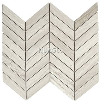Carrara Herringbone Wood Grain Marble Mosaic Tile in Beige