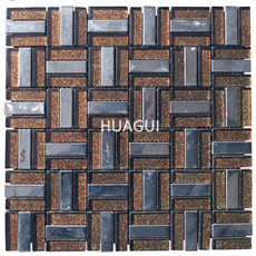Square Sparkling Powder Glass Mosaic Stainless Steel Tile for Kitchen Backspalsh