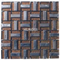 Square Sparkling Powder Glass Mosaic Stainless Steel Tile for Kitchen Backspalsh