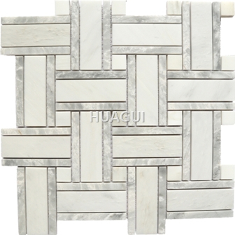 Basket Weave Desiggn Marble Mosaic Tile in White/Gray for Wall for Bathroom Wall Backspalsh