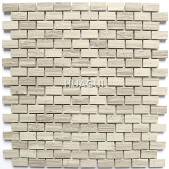 Wood Grain Rectangle Shape Marble Mosaic tile home decoration kitchen tile