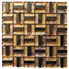 Yellow Color  Peel & Stick Mosaic Tile  Sized Stainless Steel Mixed Glass Subway Tile for Wall