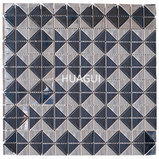 Cityscape Random Sized Metal Mosaic Tile in Silver/Black Wall Decoration Kithcen Fireplace