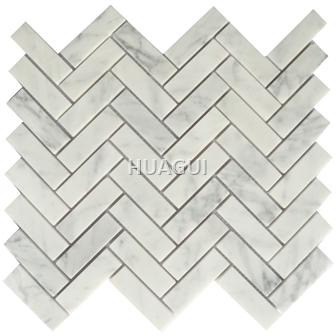 Carrara White Herringbone Honed Marble Mosaic Tile Rectangle Shape Chips Mosaic